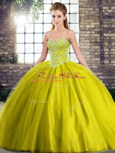 High Quality Olive Green Quinceanera Dress Military Ball and Sweet 16 and Quinceanera with Beading Sweetheart Sleeveless Brush Train Lace Up