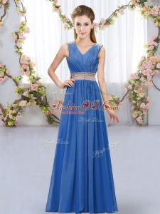 V-neck Sleeveless Quinceanera Court Dresses Floor Length Beading and Belt Blue Chiffon