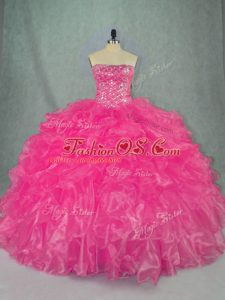 Traditional Organza Strapless Sleeveless Lace Up Beading and Ruffles Quinceanera Gowns in Hot Pink