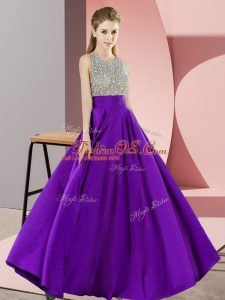 Popular Empire Prom Dresses Purple Scoop Elastic Woven Satin Sleeveless Floor Length Backless