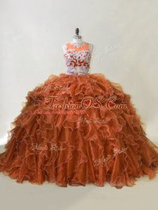 Brown Two Pieces Beading and Ruffles Quinceanera Gowns Zipper Organza Sleeveless