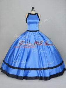 Ruching Quinceanera Gowns Blue Lace Up Sleeveless Floor Length