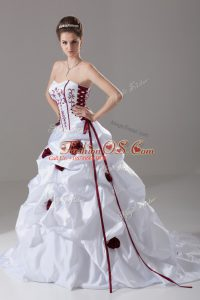 Super White Taffeta Lace Up Wedding Dress Sleeveless Brush Train Embroidery and Pick Ups and Hand Made Flower
