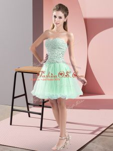 Apple Green A-line Tulle Sweetheart Sleeveless Beading Mini Length Zipper Cocktail Dresses