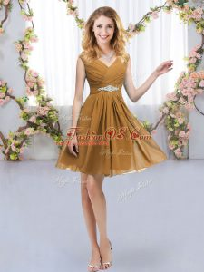Mini Length Zipper Bridesmaid Dresses Brown for Wedding Party with Belt