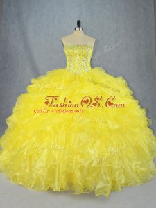 Free and Easy Yellow Sleeveless Asymmetrical Beading and Ruffles Lace Up Sweet 16 Dress