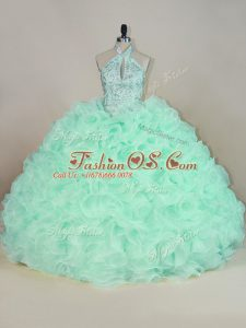 Comfortable Apple Green Fabric With Rolling Flowers Lace Up Sweet 16 Dress Sleeveless Brush Train Beading and Ruffles