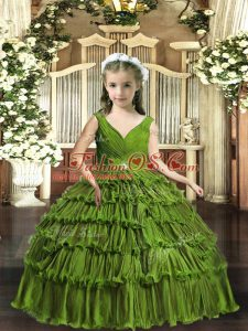 Custom Designed Olive Green Backless Girls Pageant Dresses Beading and Ruffled Layers Sleeveless Floor Length