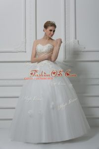 Enchanting Tulle Sweetheart Sleeveless Lace Up Beading and Appliques Bridal Gown in White