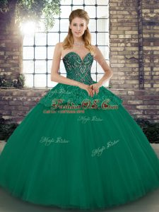 Excellent Green Sweetheart Neckline Beading and Appliques 15 Quinceanera Dress Sleeveless Lace Up