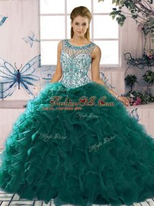 Popular Peacock Green Sleeveless Floor Length Beading and Ruffles Lace Up Vestidos de Quinceanera