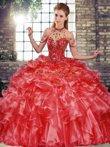 Fancy Halter Top Sleeveless 15 Quinceanera Dress Floor Length Beading and Ruffles Coral Red Organza