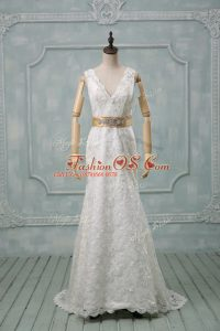 Exquisite Lace V-neck Sleeveless Brush Train Backless Beading and Lace and Belt Bridal Gown in White