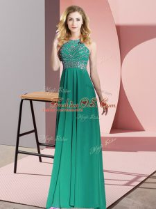 Dark Green Chiffon Backless Prom Gown Sleeveless Floor Length Beading