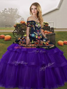 Simple Black And Purple Sleeveless Brush Train Embroidery and Ruffled Layers Sweet 16 Dresses