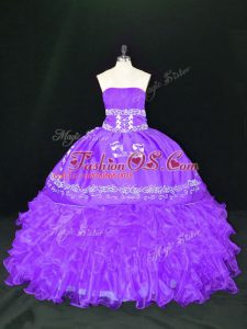 Stunning Lavender Organza Lace Up Strapless Sleeveless Floor Length Quinceanera Dress Embroidery and Ruffles