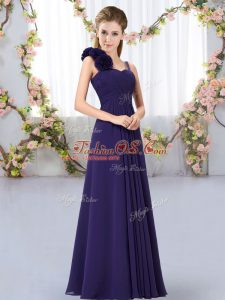 Modest Chiffon Straps Sleeveless Lace Up Hand Made Flower Court Dresses for Sweet 16 in Purple