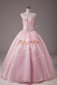 Ball Gowns Vestidos de Quinceanera Baby Pink Strapless Organza Sleeveless Floor Length Lace Up