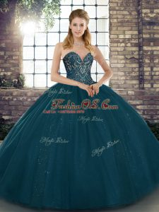 Fantastic Teal Sleeveless Floor Length Beading Lace Up Quinceanera Gowns