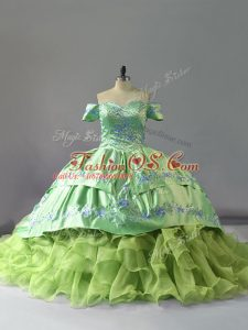 Yellow Green Off The Shoulder Lace Up Embroidery and Ruffles Sweet 16 Dress Chapel Train Sleeveless