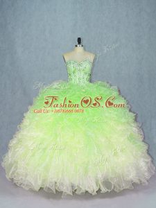 Designer Multi-color Lace Up Quinceanera Gowns Beading and Ruffles Sleeveless Floor Length