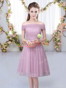 Pink Bridesmaids Dress Wedding Party with Belt Off The Shoulder Short Sleeves Lace Up