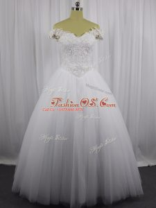 Custom Design White Off The Shoulder Neckline Beading and Lace Wedding Dress Sleeveless Lace Up