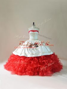 White And Red Ball Gowns Organza Strapless Sleeveless Embroidery and Ruffles Lace Up Ball Gown Prom Dress Brush Train