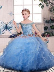 Blue Off The Shoulder Lace Up Beading and Ruffles Kids Formal Wear Sleeveless
