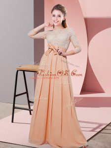 High End Peach 3 4 Length Sleeve Floor Length Lace and Belt Side Zipper Dama Dress for Quinceanera