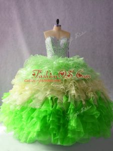 Multi-color Ball Gowns Organza Sweetheart Sleeveless Beading and Ruffles Floor Length Lace Up Quince Ball Gowns