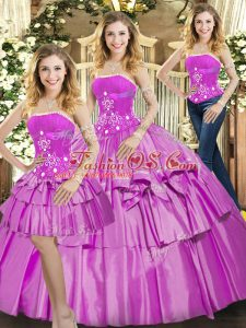 Sexy Lilac 15th Birthday Dress Sweet 16 and Quinceanera with Beading and Ruffled Layers Strapless Sleeveless Lace Up