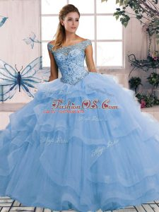 Modern Blue Tulle Lace Up 15 Quinceanera Dress Sleeveless Floor Length Beading and Ruffles