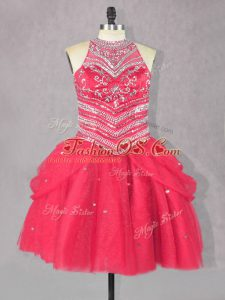 Customized Beading Prom Dress Coral Red Lace Up Sleeveless Mini Length