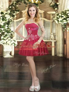 Glamorous Wine Red Red Carpet Gowns Prom and Party with Beading Strapless Sleeveless Lace Up