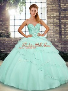 Apple Green Sweet 16 Dress Sweetheart Sleeveless Brush Train Lace Up