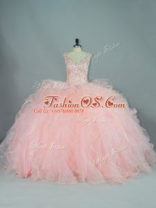 Artistic V-neck Sleeveless Tulle Quinceanera Gown Ruffles Lace Up