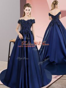 Dazzling Navy Blue A-line Satin Off The Shoulder Sleeveless Lace Lace Up Sweet 16 Quinceanera Dress