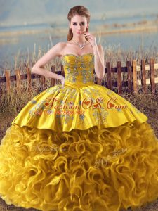 Charming Floor Length Gold Quinceanera Gown Fabric With Rolling Flowers Sleeveless Embroidery and Ruffles