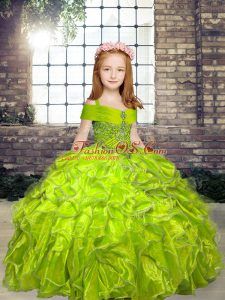 Stylish Olive Green Ball Gowns Organza Straps Sleeveless Beading Floor Length Lace Up Pageant Dress Wholesale