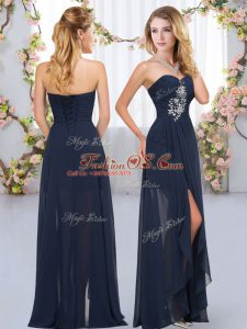 Sweetheart Sleeveless Lace Up Bridesmaid Dress Navy Blue Chiffon