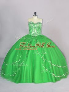 Fashionable Sleeveless Tulle Brush Train Lace Up Vestidos de Quinceanera for Sweet 16 and Quinceanera