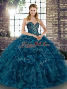 Cute Teal Ball Gowns Beading and Ruffles Sweet 16 Dresses Lace Up Organza Sleeveless Floor Length
