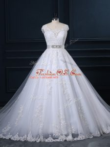 Glorious Sleeveless Court Train Zipper Beading and Lace Bridal Gown