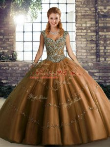 Brown Ball Gowns Tulle Straps Sleeveless Beading and Appliques Floor Length Lace Up 15th Birthday Dress