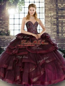 Ball Gowns Ball Gown Prom Dress Burgundy Sweetheart Tulle Sleeveless Floor Length Lace Up
