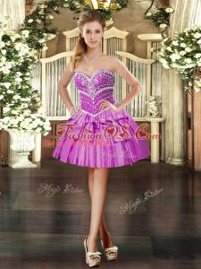 Fantastic Lilac Ball Gowns Beading Lace Up Taffeta Sleeveless Mini Length