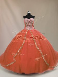 Orange Tulle Lace Up Sweet 16 Quinceanera Dress Sleeveless Brush Train Beading