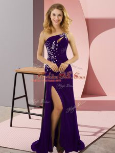 Spectacular Purple One Shoulder Lace Up Beading Evening Dresses Sweep Train Sleeveless