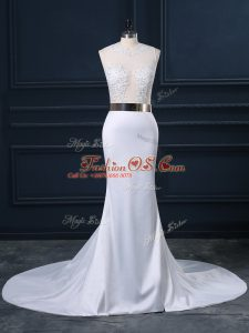 White Sleeveless Appliques and Sashes ribbons Zipper Wedding Dress